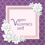 Valentine`s Day greeting card with white flowers on purple background, illustration Stock Photography
