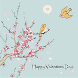 Valentine's Day greeting cards. With sakura and birds vector illustration