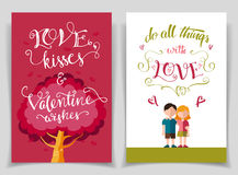 Valentine's day greeting cards set with calligraphy. Valentine's day greeting cards set with brush calligraphy and flat design Stock Images