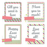 Valentine's Day Greeting Cards. Set of instant photo frames cards, they read All you need is love, I love you so much!, Happy Love day and Love Above all stock illustration