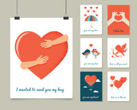 Valentine's day greeting cards set Stock Photos