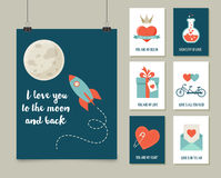 Valentine's day greeting cards set Royalty Free Stock Photos