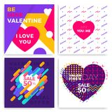 Valentine\'s day greeting cards set in trendy memphis style with. Geometric patterns Royalty Free Stock Photos