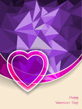 Valentine's day greeting with heart and pink purple background Stock Photo