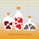 Bottles filled with decorated hearts inside - vector Royalty Free Stock Photography