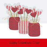 Valentine's Day Jars with polka dots  heart - vector Stock Images