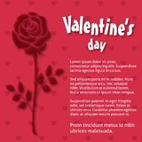 Valentine\'s day greetings card red pattern background and rose. For web design and application interface, also useful for infographics. Vector illustration Royalty Free Stock Photo