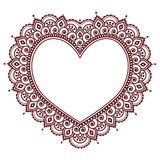 Valentine`s Day grettings card with heart Mehndi, Indian henna tattoo pattern vector illustration