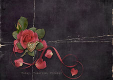 Valentine's Day. Grunge card with roses and heart Royalty Free Stock Images