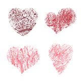 Valentine`s day grunge hand drawn heart icons. Vector illustration of brush painted hearts set isolated on white background. Valentine`s day grunge hand drawn Stock Image