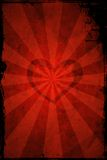 Valentine's day grunge heart. Valentine's day heart with sun rays on red grunge background stock illustration