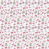 Valentine`s Day Hand Drawing Seamless Pattern. Beautiful hand drawing elements on a transparent background. Hand drawing seamless pattern for valentine`s day Stock Photography