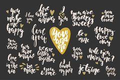 Valentine`s day hand drawn lettering inspirational qoutes set. Stock vectordrawn calligraphy and illustration vector set Stock Image