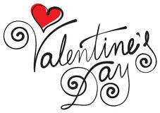 valentine s day hand lettering Royalty Free Stock Photo