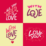 Valentine's day hand-lettering cards Stock Photo