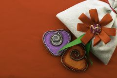 Valentine`s day, handmade products from felt royalty free stock images