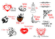 Valentine's Day headers and scripts Stock Photos