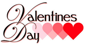 Valentine's Day Headline. Illustrated Valentine's Day headline with shaded lettering and hearts Stock Photo
