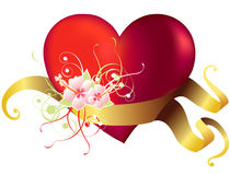 Valentine's day heart. With flowers and ribbon royalty free illustration