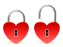 Valentine's day heart. Valentine's day lock heart and unlock heart Stock Photo