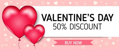 Valentine`s day for banner sale. Valentine`s day with heart balloons for banner sale vector graphic Royalty Free Stock Photography