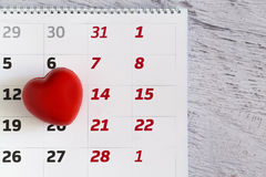 Valentine's day heart and calendar Royalty Free Stock Images