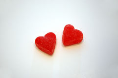 Valentine's Day Heart Candies. A pair of red Valentine's Day jelly candy hearts Royalty Free Stock Image