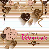 Valentine's Day and Heart chocolate Party on colorful background. Vector Party Heart chocolate and full heart on colorful Backgrou. Nd. Vector Happy Valentine's stock illustration