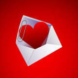 Valentine's day heart and clip in an envelope Royalty Free Stock Photography