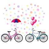 Valentine`s Day. Heart of confetti, two bicycles with an umbrella, balloons and flowers. Vector illustration stock illustration