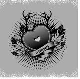 Valentine's Day heart. Heart Valentine's Day decorated with feathers and horns in the boho style, in black and white Stock Photography