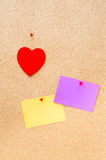 Valentine's day heart and empty cards on wooden background Stock Photos