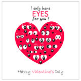 Valentine's Day heart with eyes '' i only have eyes for you'' greeting card background Stock Photos