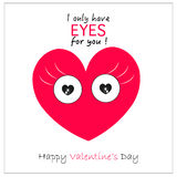 Valentine's Day heart with eyes '' i only have eyes for you'' greeting card background Stock Images