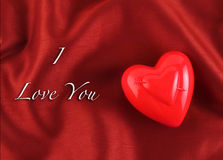 Valentine's day heart greeting card background. Valentine's day greeting card with silk background Stock Images