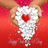 Valentine`s day. Heart in hand, Happy valentine`s day Royalty Free Stock Image