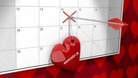 Valentine`s Day Heart hanging from a pinned arrow. A 3D illustration of a valentine`s day heart pinned and hanging to a February 2018 calendar by an arrow Royalty Free Stock Photo