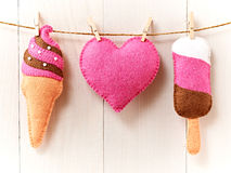 Love, Valentines Day. Heart, couple ice cream,wood. Love, Valentines Day. Heart and couple sweet ice cream, Handmade, hanging on rope. Vintage romantic style Royalty Free Stock Photo