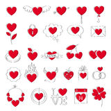 Valentine`s day heart icons set. Doodle style. Royalty Free Stock Photography