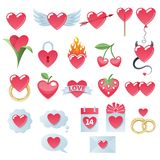 Valentine`s day heart icons set. Valentine`s day hearts icons set. Love symbols Stock Photo