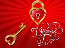 Valentine's Day Heart and Key royalty free illustration