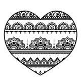 Valentine`s Day heart - Mehndi, Indian Henna tattoo pattern Royalty Free Stock Photos