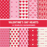 Valentine's Day Heart Patterns. 10 Seamless Backgrounds - in vector Stock Photo