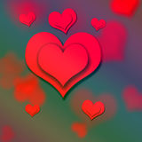 Valentine`s day, heart. Red heart on red background Valentine`s day, drawing Royalty Free Stock Image