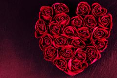 Valentine`s Day - heart of roses. Roses textures Royalty Free Stock Photography