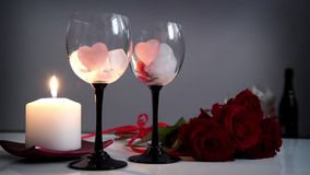 Valentine's Day Heart's, Roses and Candles stock footage