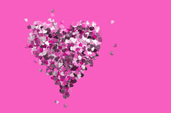 Valentine's Day heart sequins on  purple background Stock Image