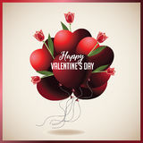 Valentine's Day heart shaped balloons with red tulips Stock Photo