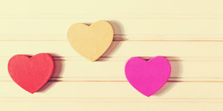 Valentine`s Day heart shaped boxes Stock Photos