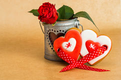Valentine's Day heart shaped cookies with icing Royalty Free Stock Photos
